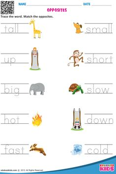 Printable English opposite words for preschool & kindergarten, Kids will be able to trace the word & Match the opposites. English Activities For Kids, English Grammar For Kids, English Worksheets For Kindergarten, Learning English For Kids, English Lessons For Kids, Kids English, Kids Worksheets, Opposites For Kids, Opposites Preschool