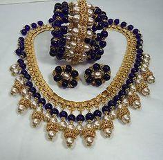 MIRIAM HASKELL Parure Set Necklace Bracelet Earrings Baroque Pearls Cobalt Glass