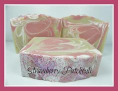 Strawberry Patchouli artisan milk soap with a triple milk blend along with tons of shea butter, kaolin clay, colloidal oatmeal and real tussah silk. Luxurious soap at affordable prices. www.dandicreations.com
