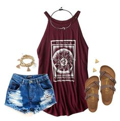 """""""if I had a penny for every time you crossed my mind I would have a penny because you never left."""" by kaley-ii ❤ liked on Polyvore featuring American Eagle Outfitters, Birkenstock, Forever 21 and Argento Vivo"""
