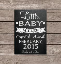 Little baby chalkboard pregnancy announcement card or photo prop by SweetfaceCelebration on Etsy