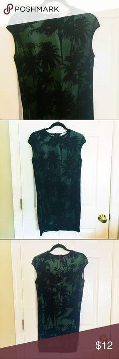 """Zara mint and black palm tree mesh dress Size M. About mid thigh length on me (5'4"""") Great condition! zara Dresses Midi"""