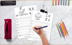 szablony karty pracy polskie literki Notebook, Bullet Journal, School, Notebooks, Scrapbooking