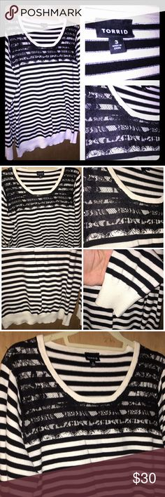 Torrid Sweater Size 3 Very cute striped sweater with Lace detail. Perfect for winter and the holidays. In my opinion this does run a little small - which is why I'm listing it lol ---- I wore this once or twice. It's in great condition and comes from a smoke free home. torrid Sweaters Crew & Scoop Necks