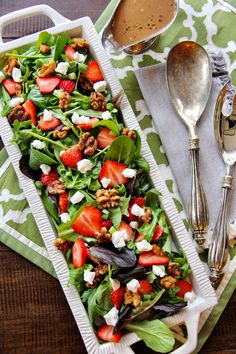 Looking for a gorgeoussalad for Spring? Our Spring Salad with Strawberries & Candied Walnuts has creamy goat cheese and and bright balsamic vinaigrette that's ideal for any occasion! Sp…