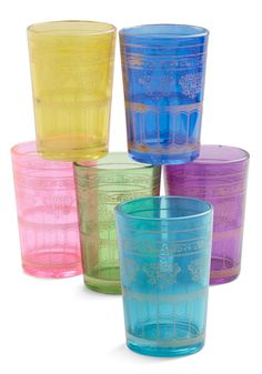Tea Time Anytime Glass Set. Whether youre serving your favorite blends with brunch or as after-dinner drinks, this colorful glass set from Karma Living will liven up your tea time! #multi #modcloth