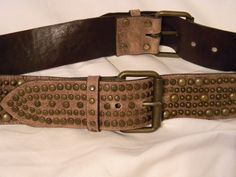 "BoHo Wide Belt Double Side Buckles Brass Toned Studs Studded 32"" to 36""  