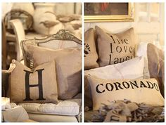 printing on burlap gorgeous with chocolate brown leather furniture!