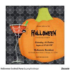 Halloween Cocktail Party Quadratische 13,3 Cm Einladungskarte