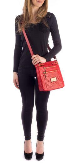Bolsa tiracolo em couro Andrea Vinci vermelha - Enluaze - Bolsas, mochilas, roupas e acessórios