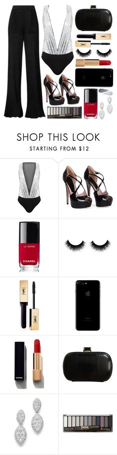 """december nights"" by datumacias ❤ liked on Polyvore featuring Gucci, Chanel, H&M, Yves Saint Laurent, MaxMara, Bloomingdale's, Rimmel and Clé de Peau Beauté"