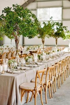 2017 Wedding Trends-Top 30 Greenery Wedding Decoration Ideas gorgeous tall tree wedding centerpieces to impress your guests Summer Wedding Centerpieces, Green Centerpieces, Centerpiece Ideas, Greenery Centerpiece, Table Decorations, Tree Decorations Wedding, Round Table Decor Wedding, Tree Centrepiece Wedding, Banquet Centerpieces