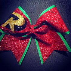 3in. Glitter Robin Superhero Cheer Bow by BowsByTeri on Etsy