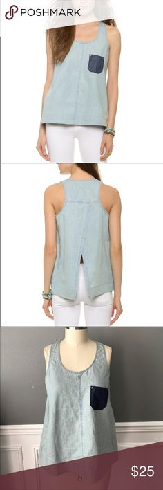"NWOT Jack ""Miro"" chambray top Runs tts. woven chambray racer back tank with a contrast denim patch pocket and crossover open back. Jack by BB Dakota Tops Tank Tops"
