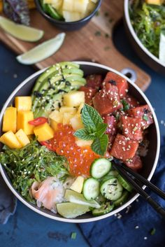 This Tuna and Salmon Poke Bowls are not only fresh, healthy and fast but also so light and satisfying with all the different textures.