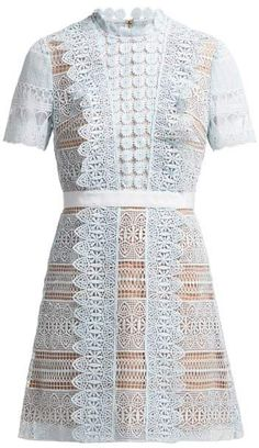 79a2c1c758c8 Self-Portrait Self Portrait Spiral Lace Mini Dress - Womens - Light Blue