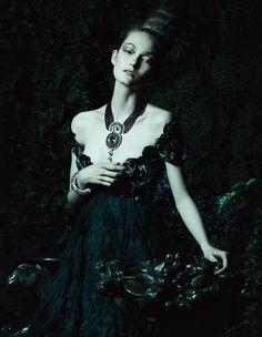 Fairytale Evening Gowns: How To Spend It Magazine by Yuval Hen - Alexander McQueen gown #VanCleef&Arpels