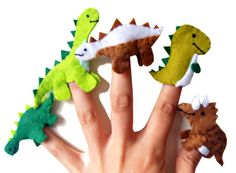 Watch your little ones delight as they get to know these 5 lovable little dinosaurs.  This little finger puppets are all handmade from high