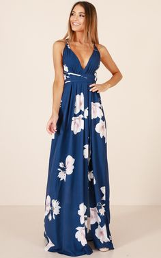 cc2aa28c57d Shine Through Maxi Dress In Navy Floral Produced