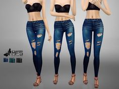 High waisted ripped jeans in three different tonalities. Standalone, HQ Texture, 3 swatches.  Found in TSR Category 'Sims 4 Female Everyday'