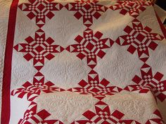 Gorgeous!  Perfectly executed red and white quilt.  Quilted by Jessica Brunnemer
