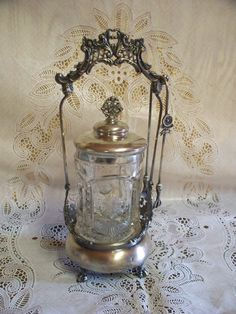 Antique Ornate Victorian Quadruple Silver Plate Ball Claw Feet Pickle Castor With Jar Lid Tongs
