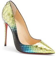 Christian Louboutin 'So Kate' Hand Painted Genuine Python Pointy Toe Red Bottom  Pump