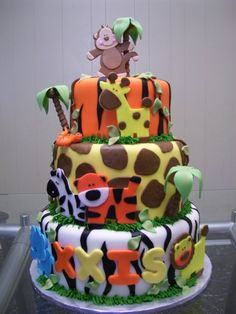 Jungle Baby Shower Cake, perfect for my nephew who is turning 1!!