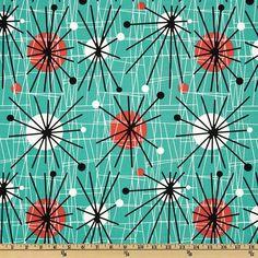 michael+miller+retro+fabrics | Michael Miller Retro Fabric 1 Yard Atomic Mid Century Modern Turquoise