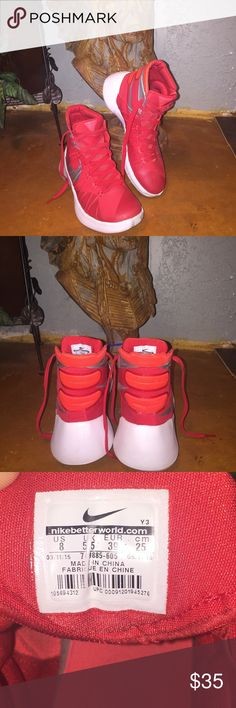 Women's Nike Hyperdunk Basketball shoes. Sz 8 Never worn off court. Perfect for everyday use. Bright red in color. Nike Hyperdunks  Sz 8 Nike Shoes Athletic Shoes