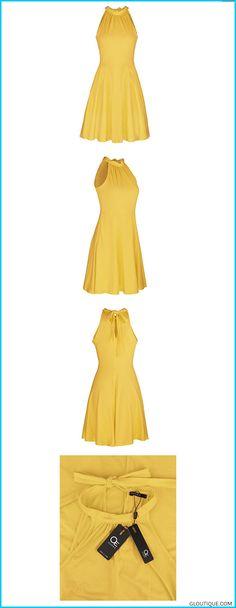 d221662015167 OUGES Women s Stand Collar Off Shoulder Sleeveless Cotton Casual Dress