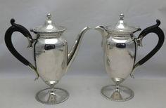 Antique 1915 Pair Solid Silver Bachelor Cafe au Lait Coffee Pots (455-9-OEW)  | eBay