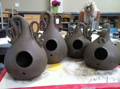 In the works: Very stylish bird houses. By Sally Anne Stahl @ www.clayshapergallery.com
