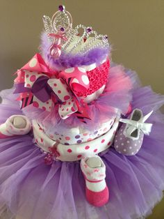 Tutu princess baby girl diaper cake by AFabulousEvent on Etsy