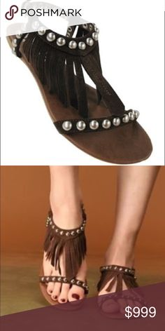 COMING SOON! JEFFREY CAMPBELL WINK FRINGE SANDALS 100% authentic. Brown suede with silver studs. Fringe around ankle. Adjustable ankle strap. GUC Jeffrey Campbell Shoes Sandals