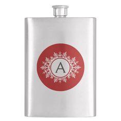 Ornate White Snowflake Monogram on Festive Red Hip Flasks