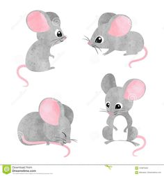 Find Set of cute little mice. Vector watercolor mouse collection stock vectors and royalty free photos in HD. Explore millions of stock photos, images, illustrations, and vectors in the Shutterstock creative collection. Cartoon Drawings, Easy Drawings, Animal Drawings, Maus Illustration, Illustrations, Rats Mignon, Animals Vector, New Years Nail Art, Mouse Paint