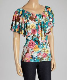 Another great find on #zulily! Jade & Pink Floral Flutter Scoop Neck Top #zulilyfinds