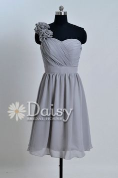 Grey Bridesmaid Dress 2013 Short Chiffon Wedding Party Dress Homecoming Dress Cocktail Dress One-Shoulder Bridesmaid Dress(BM032102)
