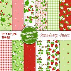 80% OFF SALE Strawberry Paper, Strawberry Digital Paper, Strawberry, Summer Paper, Printable, Commercial Use
