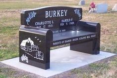Bench grave marker - Headstone in Nebraska made by Palmer Brothers Granite Co.