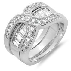 3.00 CT Ladies Baguette & Round Cubic Zirconia CZ Wedding Bridal Engagement Ring Set (Available in size 6, 7, 8) DazzlingRock Collection. $24.99. Cubic Zirconia Weight : 3.00 ct tw.. Crafted in Platinum-plated. Cubic Zirconia Color / Clarity : White / Clear. Get most bang for your buck
