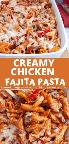 This Creamy Chicken Fajita pasta recipe is bound to be a hit with the whole family - tender chunks of chicken with red onion and bell peppers in a creamy tomato sauce with a spicy kick! Fajita Pasta Recipe, Baked Chicken Pasta Recipes, Spicy Chicken Pasta, Healthy Pasta Recipes, Healthy Pastas, Chicken Fajitas, Entree Recipes, Vegan Recipes Easy, Mexican Food Recipes