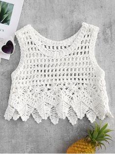 Fabulous Crochet a Little Black Crochet Dress Ideas. Georgeous Crochet a Little Black Crochet Dress Ideas. Tops A Crochet, Chunky Crochet, Crochet Blouse, Crochet Style, Cotton Crop Top, Beach Tops, Beachwear For Women, Crochet Fashion, Crochet Clothes