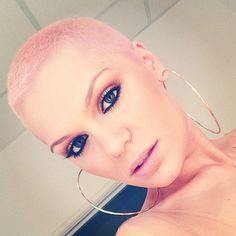 Bleach London Mania: Jessie J pink hair by from Bleach Jessie J, Buzz Cut Women, Short Hair Cuts For Women, Buzz Cuts, Very Short Hair, Hair Styles 2014, Short Hair Styles, Shaved Pixie Cut, Half Shaved Hair
