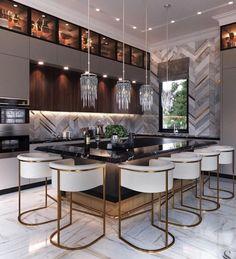 Glamorous, beautiful chic kitchen shared by annabelannunziata Kitchen Pantry Design, Modern Kitchen Design, Home Decor Kitchen, Interior Design Kitchen, Home Kitchens, Diy Kitchen, Cuisines Design, Küchen Design, Interior Exterior