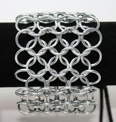 Chainmail Maille Bracer Bracelet with Suede Leather Thong Closure