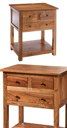 Delightfully rustic yet refined in design, this Ambrose Side Table will make a charming addition to any modern room. Equipped with three drawers, a lower shelf, and a sizeable smooth surface, this piec...  Find the Ambrose Side Table, as seen in the Accent Tables Collection at http://dotandbo.com/category/furniture/tables/accent-tables?utm_source=pinterest&utm_medium=organic&db_sku=118289