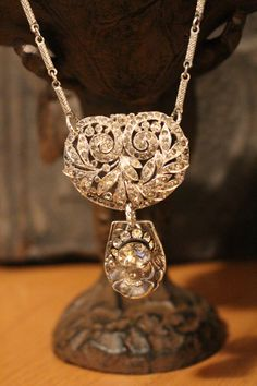 Vintage Rhinestone Brooch & Spoon Necklace by BelleVia on Etsy, $52.00