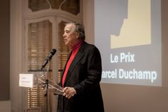 Gilles Fuchs, the president of ADIAF, announcing this year's #MarcelDuchamp Prize nominees.